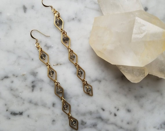 Labradorite with raw brass diamond link earrings