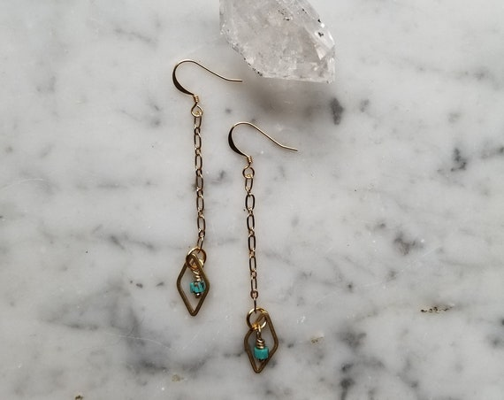 Genuine turquoise with raw brass diamond dangle earrings