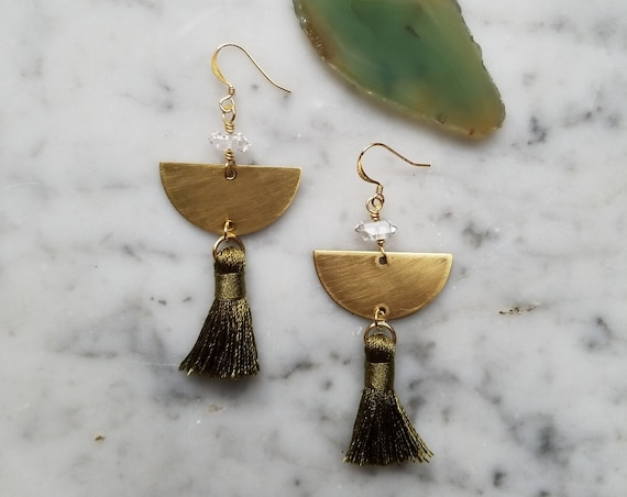 Forest green tassel earrings with herkimer diamonds on brass