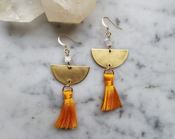 Mustard yellow tassel earrings with herkimer diamonds on brass