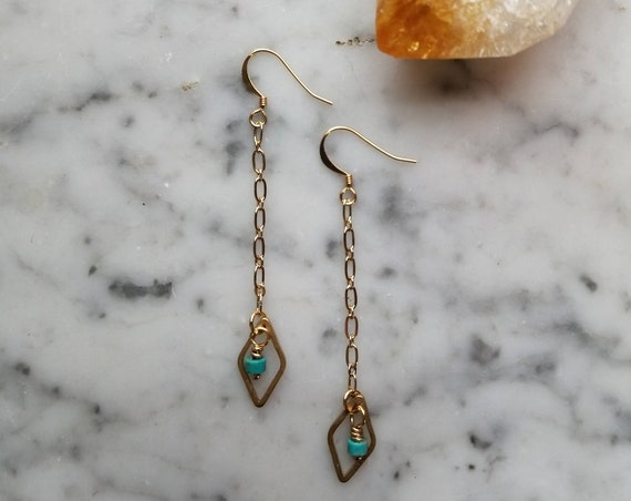 Genuine turquoise with raw brass diamond dangle earrings longer length