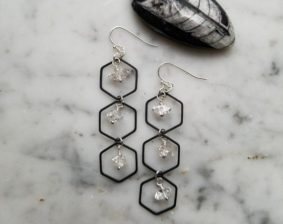 Honeycomb hexagon black and silver with herkimer diamond accents