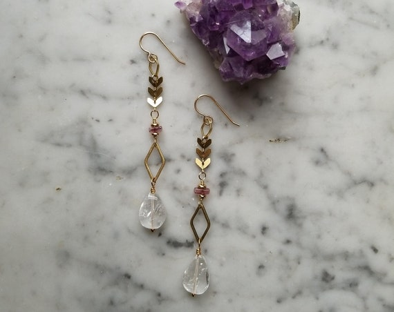 Brass chevron chain with clear quartz teardrop and rhodolite