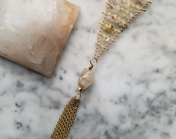 Pinned golden rutilated quartz  necklace with golden rutile focal bead and chain fringe