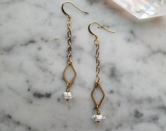 Herkimer diamonds with raw brass diamond dangle earrings