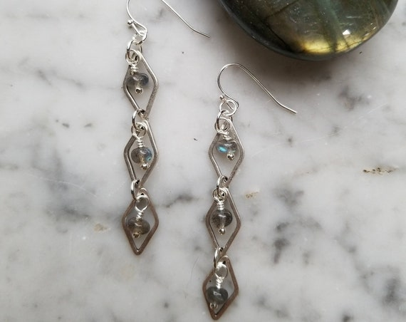 Shorter labradorite with silver plated brass diamond link earrings