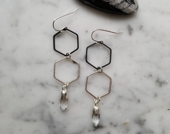 Honeycomb hexagon black and silver with quartz point accents