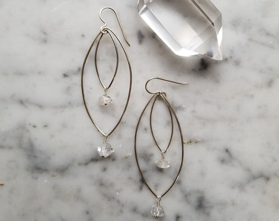 Sterling silver marquise shapes with herkimer diamonds