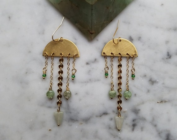 Prehnite and green czech glass on brass half moons with brass fringe