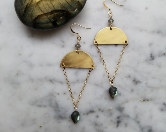 Labradorite on brass half moons - EBL003