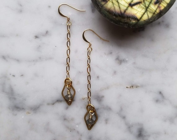 Labradorite with raw brass diamond dangle earrings