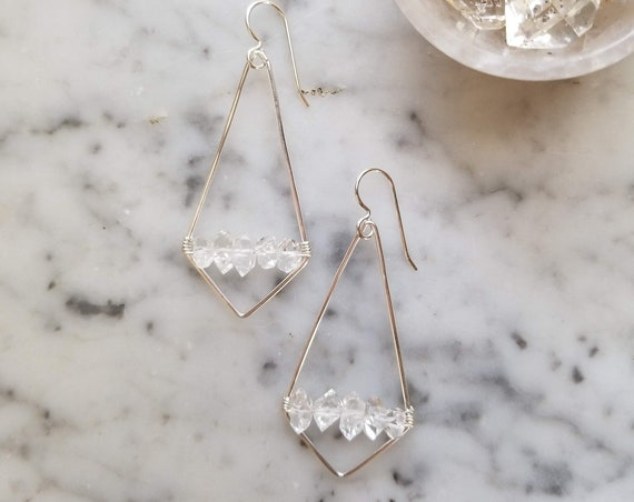 Sterling silver kite earrings with herkimer diamonds
