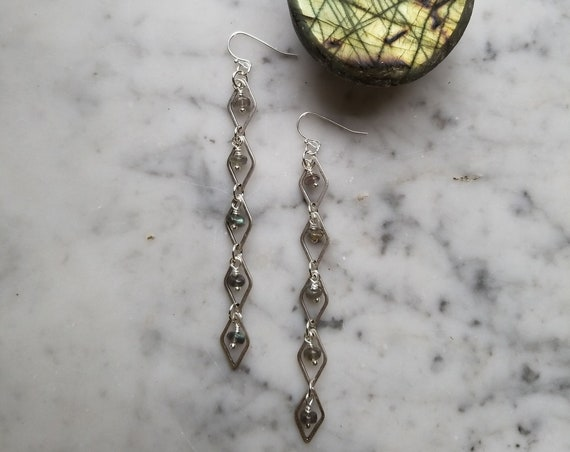 Labradorite with silver plated brass diamond link earrings