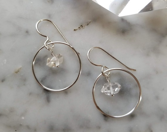 Single Herkimer diamond on sterling silver circles with sterling silver ear wires