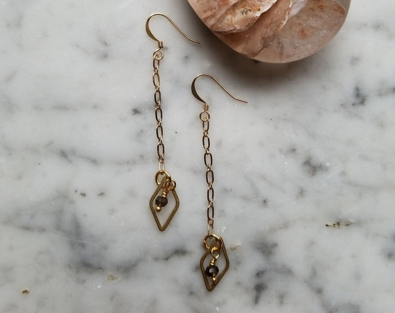 Smoky quartz with raw brass diamond dangle earrings