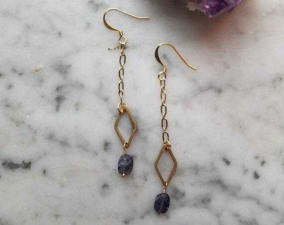Iolite with raw brass diamond dangle earrings