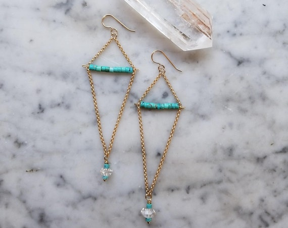 Genuine turquoise and herkimer diamond geometric earrings on matte gold