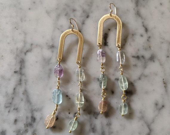 Fluorite brass arch dangle earrings - OOAK one of a kind