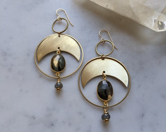 Labradorite and brass crescent moon phase dangle earrings