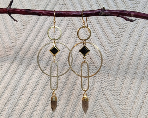 Smaller geometric earrings with smoky quartz points - brass framed black lucite diamond, brass shapes circles ovals