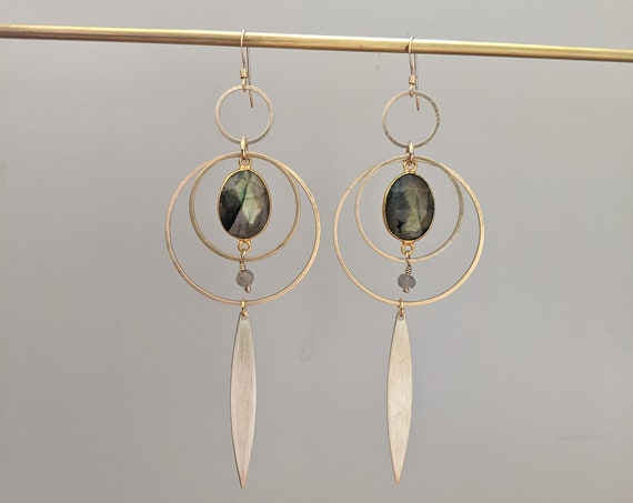 Labradorite on brass concentric circle dangle earrings with brass petals