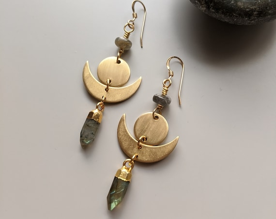 Labradorite and brass moon phase geometric dangle earrings