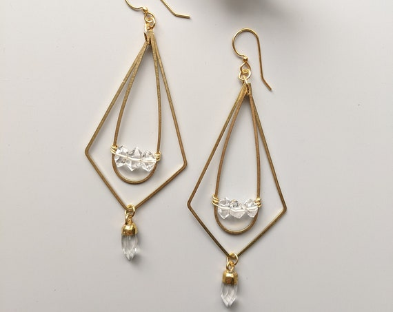 Herkimer diamond and brass kinetic geometric dangle earrings