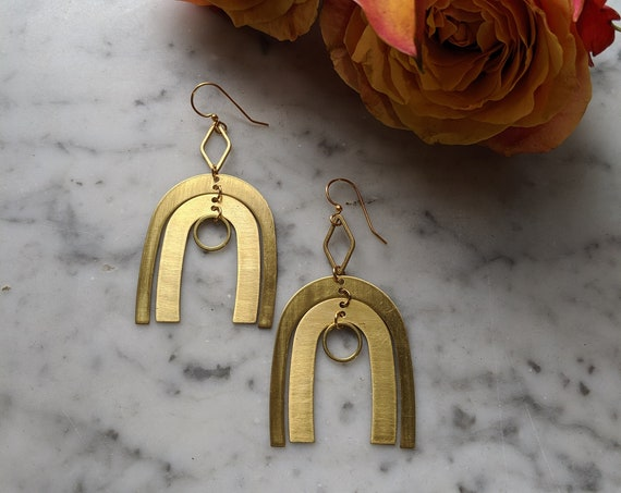 Brass kinetic geometric dangle earrings