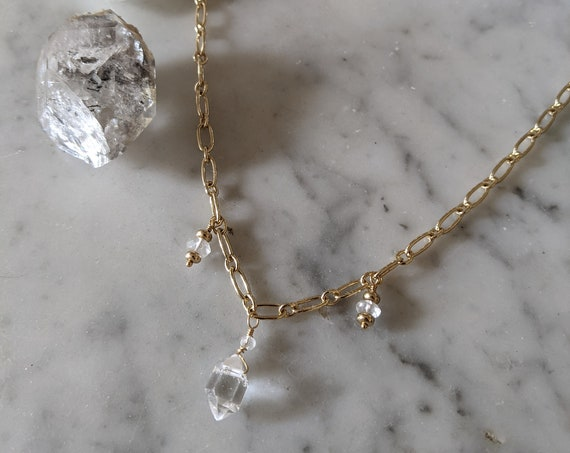 Luxe Herkimer diamond choker necklace on thick gold filled chain