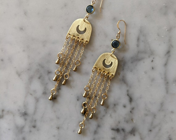 Once in a blue moon - brass half moons with decorative chain fringe and blue swarovski circles