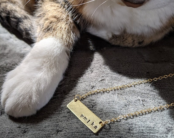 Customized hand-stamped brass bar necklace - name heart pet tarot love