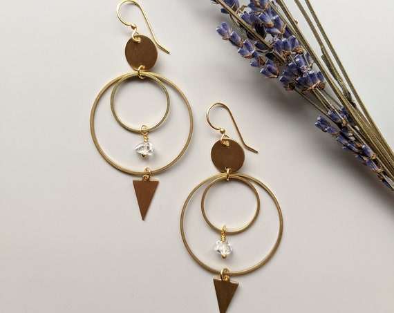 Arrow earrings - brass circles and arrow dangles and Herkimer diamonds EBH013
