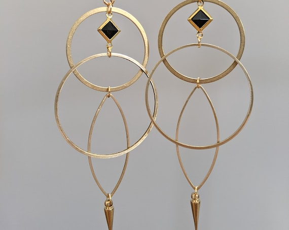 Geometric earrings - brass framed black lucite diamond, brass shapes with brass point