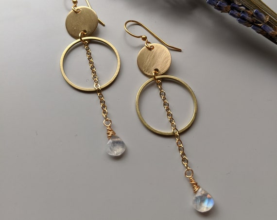 Moonstone archer earrings - brass circles and moonstone briolette dangles EBM003