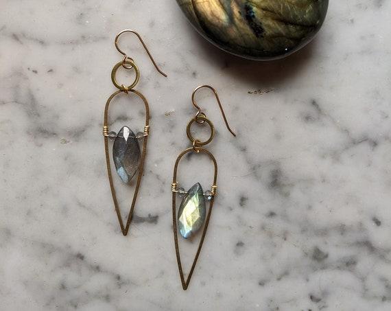 Labradorite goddess dangle earrings