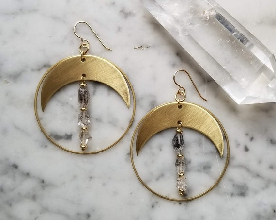 Larger crescent moons with dangling ombre herkimer diamonds with inclusions -  brushed brass gold filled ear wires