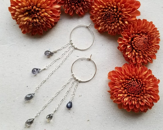 Sterling silver hoops with iolite teardrops
