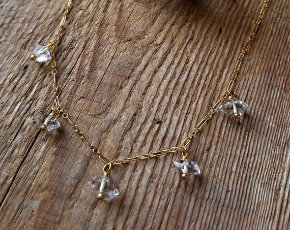 Delicate gold filled necklace with larger Herkimer diamonds NGH011