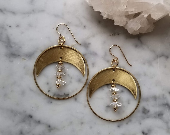Crescent moons with dangling herkimer diamonds brushed brass gold filled ear wires