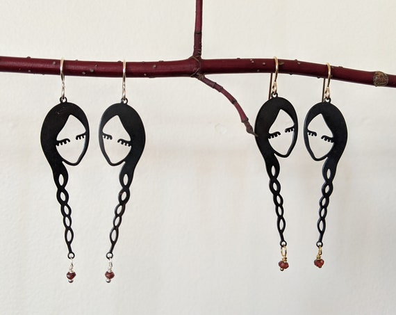 Wednesday Addams Sisters Friends Braid Earrings with Garnet