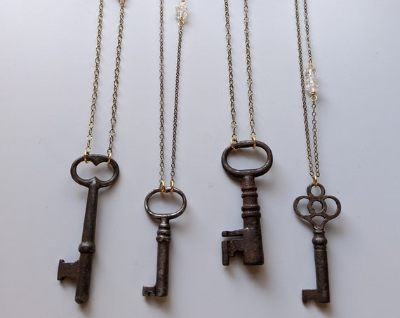 Vintage skeleton key necklace with herkimer diamond accents - antique brass chain NGH005