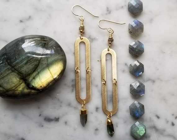 Labradorite on long brass ovals