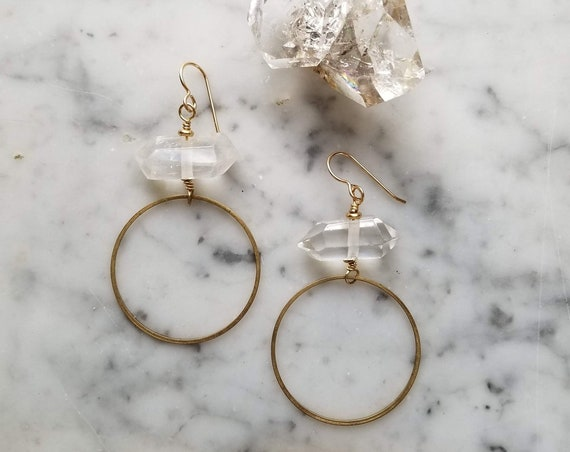 Double terminated quartz and brass circles abstract earrings