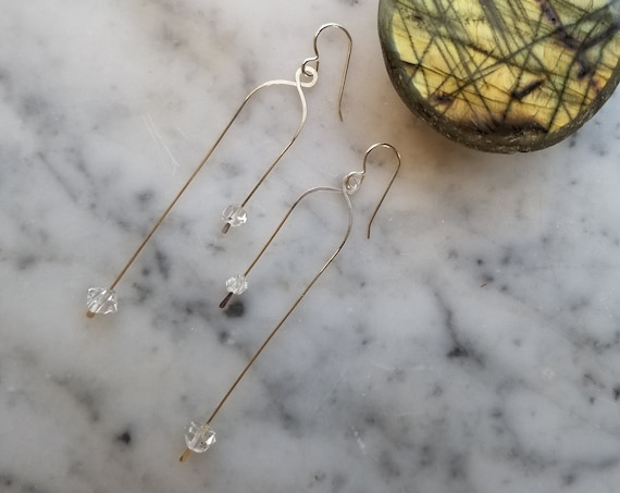Asymmetrical sterling silver geometric earrings with herkimer diamonds