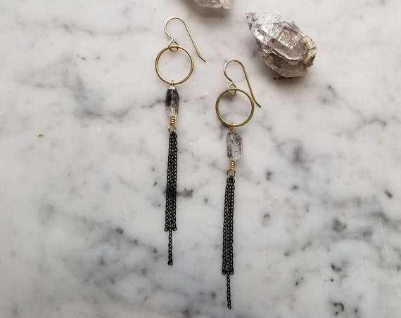 Black chain fringe and herkimer diamonds  brass gold filled ear wires