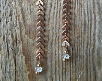 Rose gold chevron chain with herkimer diamonds extra long earrings