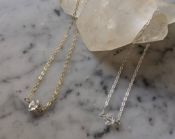 Delicate gold plated or silver plated choker necklace with single Herkimer diamond - NGH001 NSH001