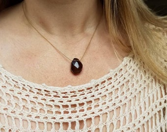 Chunky faceted smoky quartz choker on matte gold plated chain