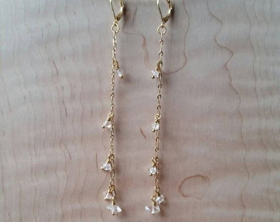 Herkimer diamond brass dangle earrings extra long