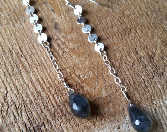 Sterling silver disc link earrings with labradorite briolettes